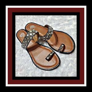 Yellow box slide rhinestones sandal